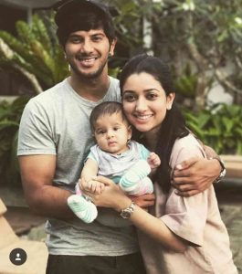 Dulquer Saalman with wife and baby